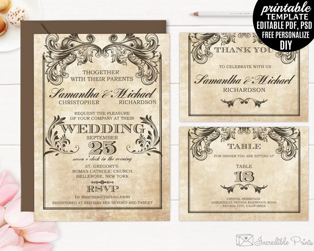 Printable Vintage Victorian Wedding Invitation Set Template.