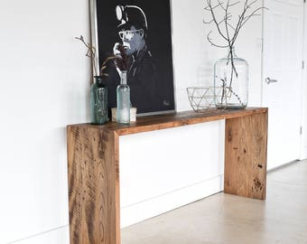 Reclaimed Wood Console Table / Modern Plank Entryway Table