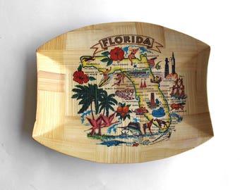 Vintage Florida Souvenir Bamboo Tray