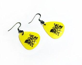 Yellow Rock Star, Guitar Pick Earrings with Black Fish Hooks, Handmade