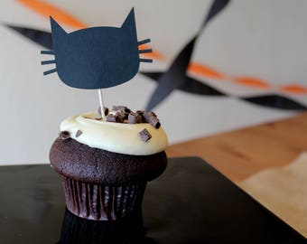 Halloween Cat Cupcake Topper - Oh Goodness Paper Co
