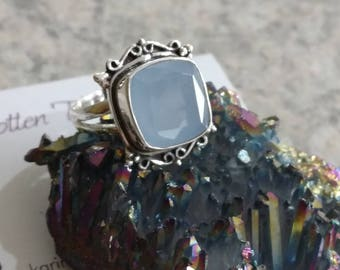Faceted Blue Chalcedony  Ring, Size 6 1/2
