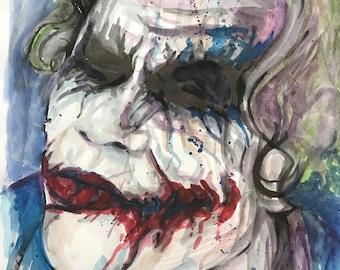 Heath Ledger's Joker Watercolor