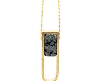 Obsidian Stone Horseshoe Necklace