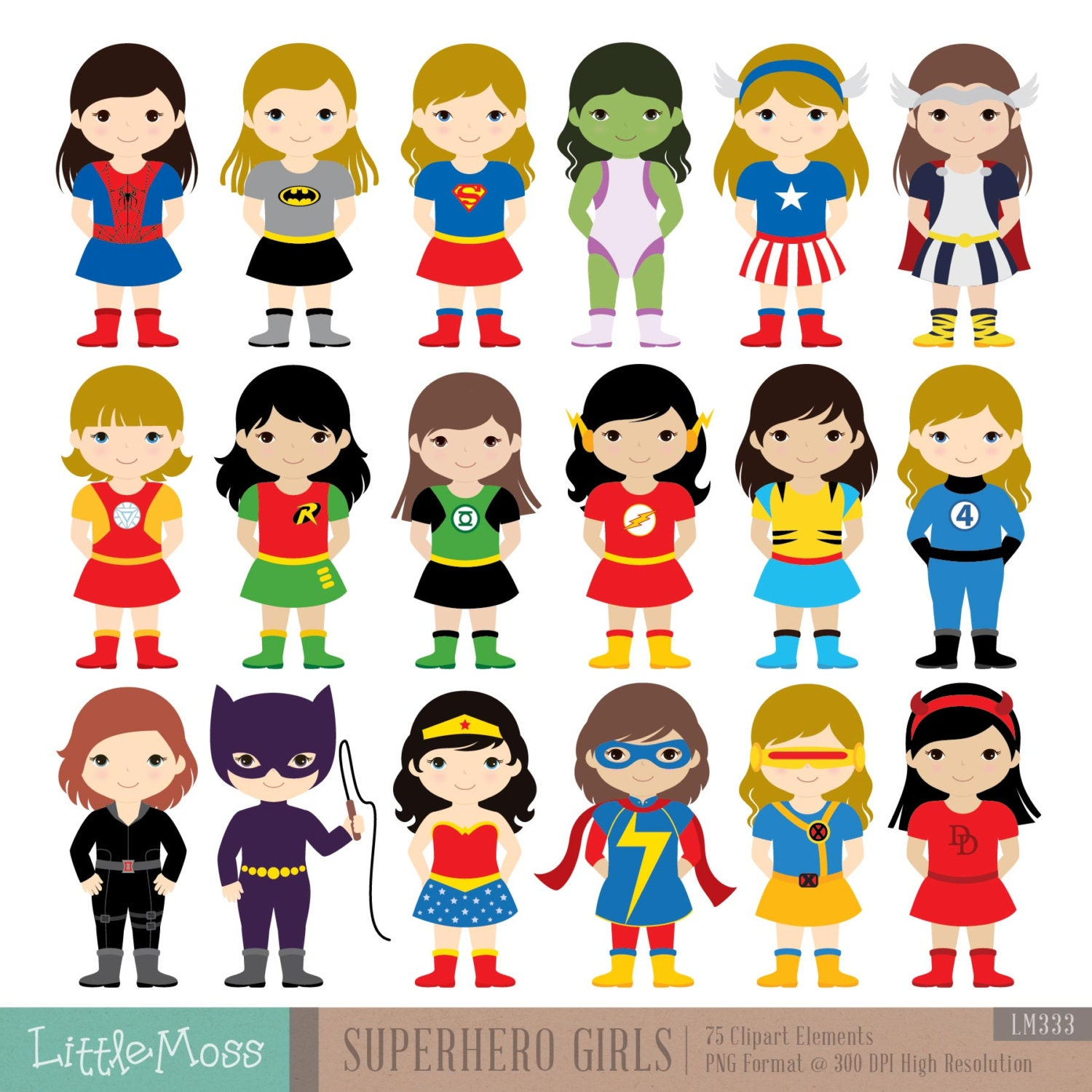18 Girls Superhero Costumes Clipart, Superheroes Clipart -1289