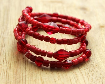 Boho  bangle red glass bead memory wire bracelet
