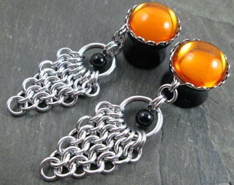 """Dangle Plugs - 5/8"""" 16mm - Gothic Plugs - Dangle Gauges - Chainmaille Jewelry - Plug Earrings"""