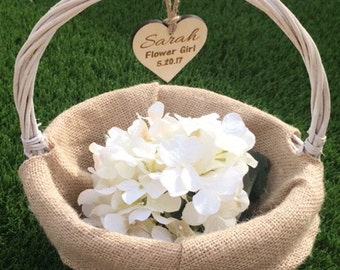 flower girl basket, rustic flower girl basket, custom flower girl basket, flower girl gift, personalized flower girl basket