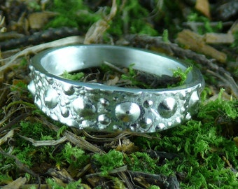 Sea Urchin Ring Narrow Sterling Silver Band