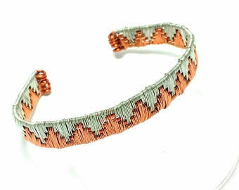Copper and Silver-plated copper Wire-Wrapped Bracelet, Copper Bracelet, Wire-wrapped Bracelet, Bracelet