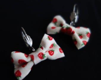 Fraisichou pattern Strawberry earrings