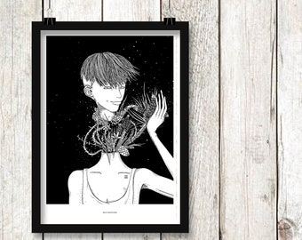 Self-criticism print. Illustration print, art print, black white print, wall decor, wall art