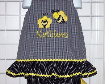 Bumble Bees Applique A-line Top with Ruffle and Bloomers Set available in sizes 3 mo thru 6X