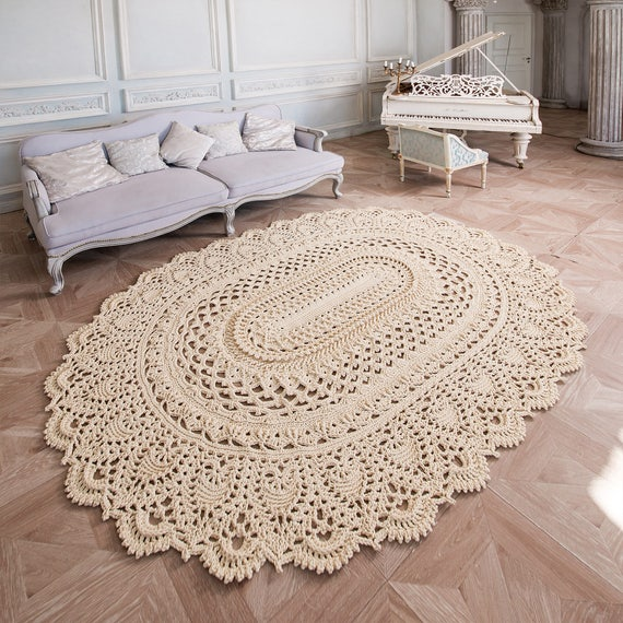 Big Crochet Rug Oval Area Rug 100 х 75 In Doily Rug Yarn