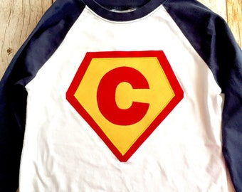 Boys or girls navy blue white red yellow pink  Superhero needs a Cape Birthday shirt superman monogram personalized custom
