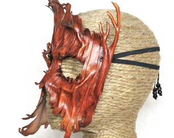 Leather Tree Mask, Tree Costume, Ent Forest Spirit Costume Piece, Handcrafted Dryad Woodland Halfmask(M209)