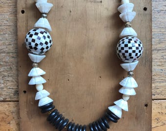 Large Beaded Necklace- 1980s Necklace- 80s Jewelry- Funky Jewelry- Black and White Necklace- 60s MOD- Gift for Her- Geometric Necklace
