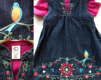 Baby girls denim dress, mexican style embrioded by baby Gap and then hand painted by me! washable, matching set, up cycled denim 12-18months