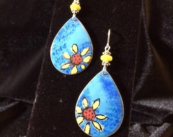 Enamel Earrings Flower Dangle