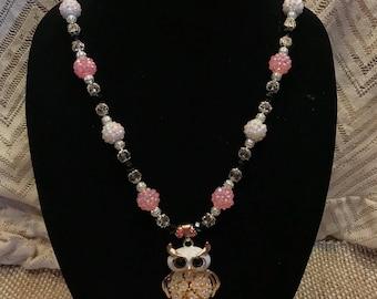 Pink Necklace, Owl Jewelry, Owl necklace, Retro Owl Necklace, Rhinestone Owl, Owl Pendent, Owl lovers, Owl Bling, Boho necklace