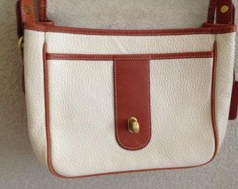 vintage COACH PURSE shoulder bag off-white & carmel LEATHER
