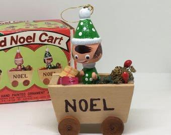 Vintage Wooden Christmas Ornament, Santa's Helper Noel Cart, Hand Painted, Amico #6412, IOB, 1979