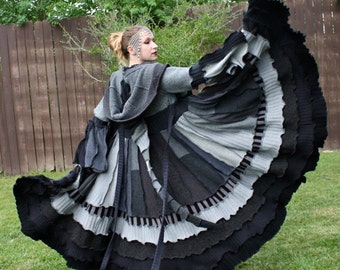 Custom Recycled Sweater Coat with a Medieval Liripipe Hood by SnugglePants- Dance of the Dead