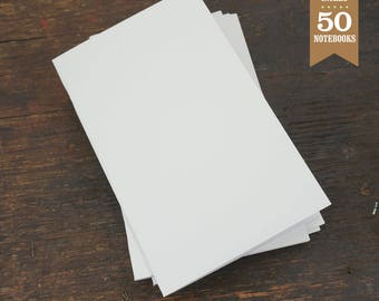 Bulk Blank Notebooks, White, 5x8, Blank Page, Sketchbook, Blank Journal, Notebook, Great for Notes, Journaling and Sketching. Set of 50.