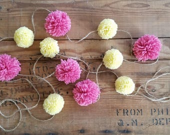 Pink and Yellow Yarn Pom Pom Garland. Baby shower decor, handmade pom poms, party garland, pink pom poms, yellow pom poms, lemonade pom poms