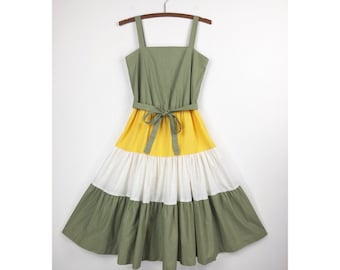 70s Sundress | Tiered Color Block