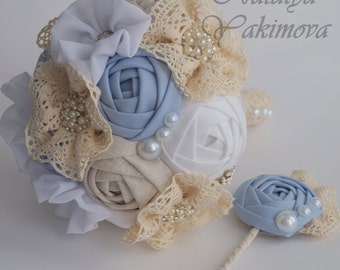 Brooch Bouquet, Vintage Bouquet, Bridal Bouquet, Wedding Bouquet, Fabric Bouquet, Rustic Bouquet, Unique Wedding Bridal Bouquet, blue ivory