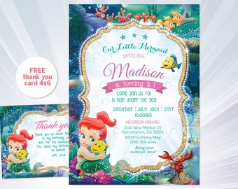 Ariel birthday etsy ariel birthday invitation filmwisefo