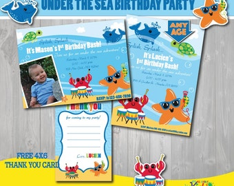 Printable under the sea party birthday party package first under the sea party birthday invitation free thank you card first birthday 1st birthday splash party party invitation pool party any age filmwisefo