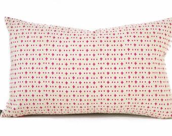 SALE Boho pink pillow cover - Beige Pink Pillow - Cross pillow - Bright pink pillow - Tribal, Ethnic, Nursery pillow, Cross lumbar pillow