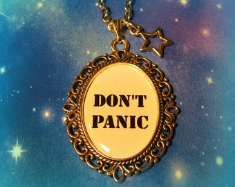Don't Panic The Hitchhiker's Guide to the Galaxy Inspired Necklace with Star Charm Antique Silver Geekery