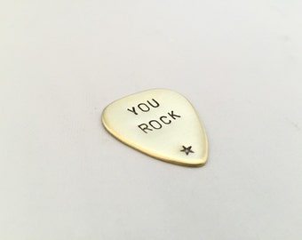 Personalised Guitar Plectrum, Stamped brass guitar pick, Music, Men, Gift for Him, stamped plectrum, Custom men's accessories, fathers day