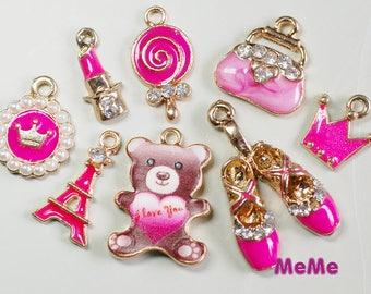 1 Set 8 Pcs Rose Charms Alloy Bear Purse Kawaii Bracelets Pendants Accessories Studs Cabochon Deco Den Phone Case DIY Deco kit PP060