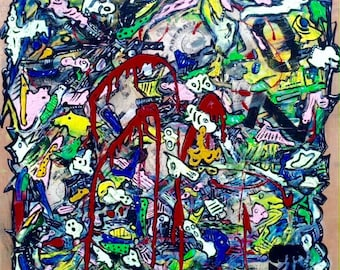 Abstract Painting On Recycled Wood Panel Mixed Media Graffiti Style (British Female Artist)