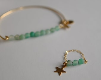 Ring stones Craked agate green 14K Gold-filled chain
