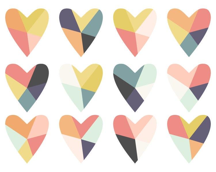 geometric clip art fractured heart digital clip art rh etsy com etsy clipart free etsy clipart flowers
