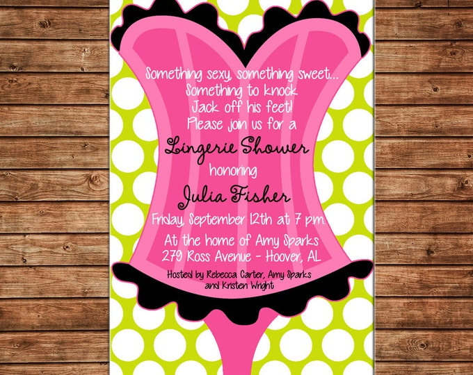 Girl Invitation Lingerie Wedding Bridal Bachelorette Shower Party - Can personalize colors /wording - Printable File or Printed Cards