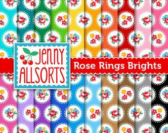 Roses Shabby Chic Digital Paper - Roses in Big Dots on Bright Colors - for invites, card making, digital scrapbooking