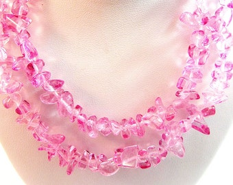 Rose Glass Chip Beads 24""