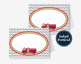 Fire Truck Buffet Labels, Fire Engine Place Cards, Fire Truck Party Decorations, Party Table Food Labels, Printable INSTANT DOWNLOAD