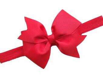 Red baby headband - baby headband, baby headbands, baby headband bows, baby bows, newborn headbands, baby girl headbands, headbands baby