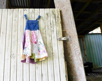 Overalls, Denim Dress, Upcycled Clothing, Tunic, Recycled, Reclaimed, Boho, Bohemian, Gypsy, Floral, Patchwork, Romantic, Jeans