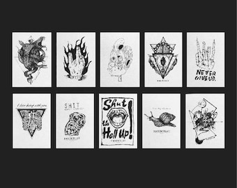 10 Piece Postcard Package, snake, monster, zombie, black & white, weird, darkness, rock, punk, illustration, hong kong, skull, gift, friends