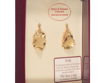 Real Holly Leaves Dipped In 24k Gold - Post Dangle Earrings - 24k Gold Electroplated - Boxed