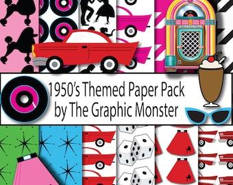 1950's Scrapbook Paper, Digital Paper 1950's Clip Art, Retro 1950's Scrapbook Paper, Juke Box Clip Art, Instant Download, Paper