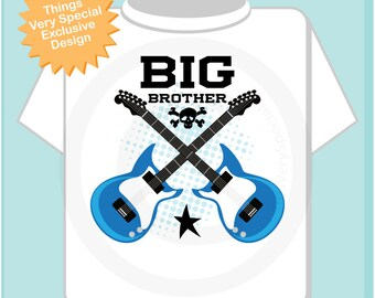 Big Brother Guitar Rocker Shirt or Onesie, Personalized Big Brother Shirt, Infant, Toddler or Youth sizes t-shirt (09222014a)